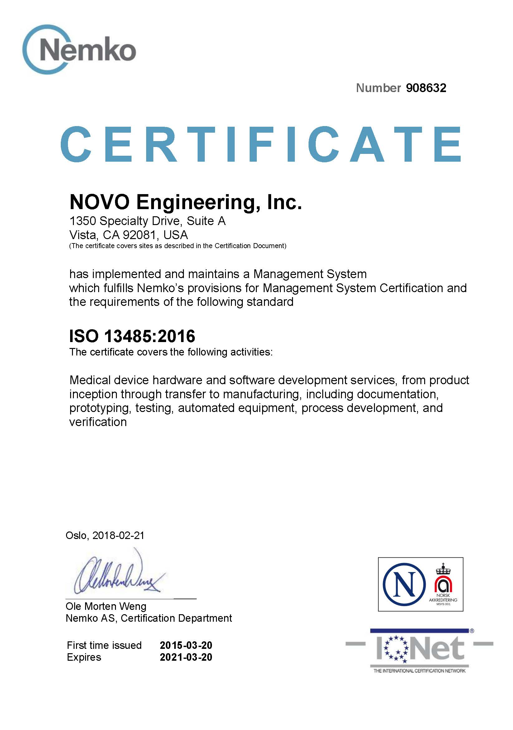 Management Systems Certificate ISO 13485:2016