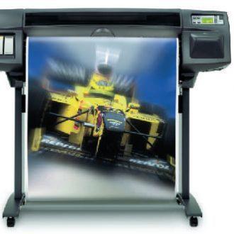Large format thermal inkjet printer (TIJ) printing copy of a racecar
