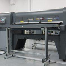 Development engineer testing grand format UV printer